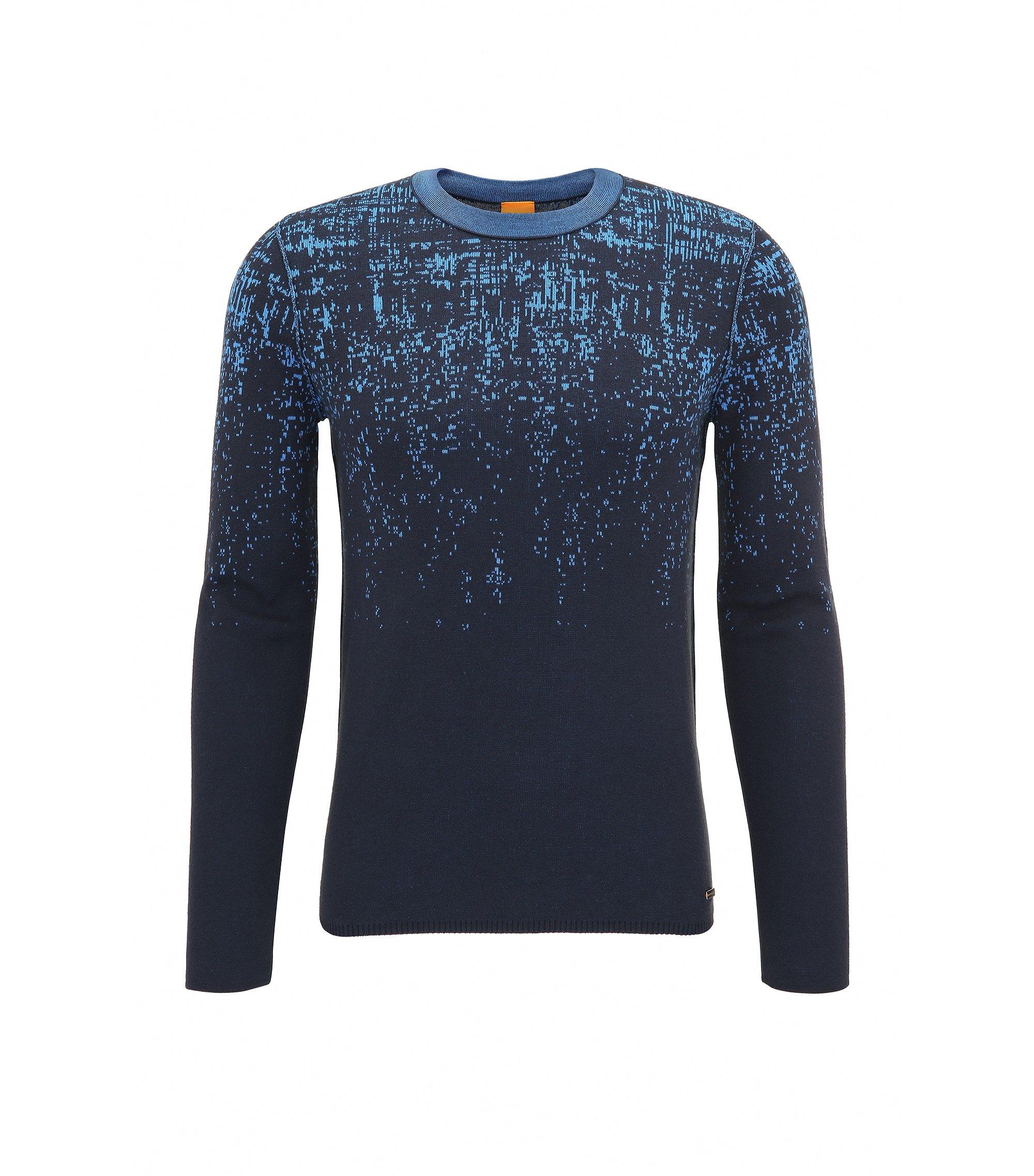 'Kapixo' | Ombre Long Sleeve Cotton Blend Sweater, Dark Blue