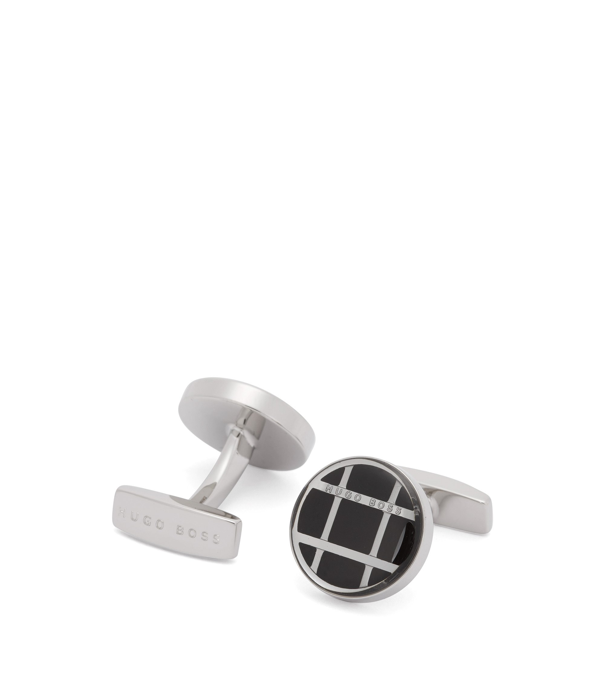 'Arthur' | Windowpane Check Stainless Steel Cufflinks, Black