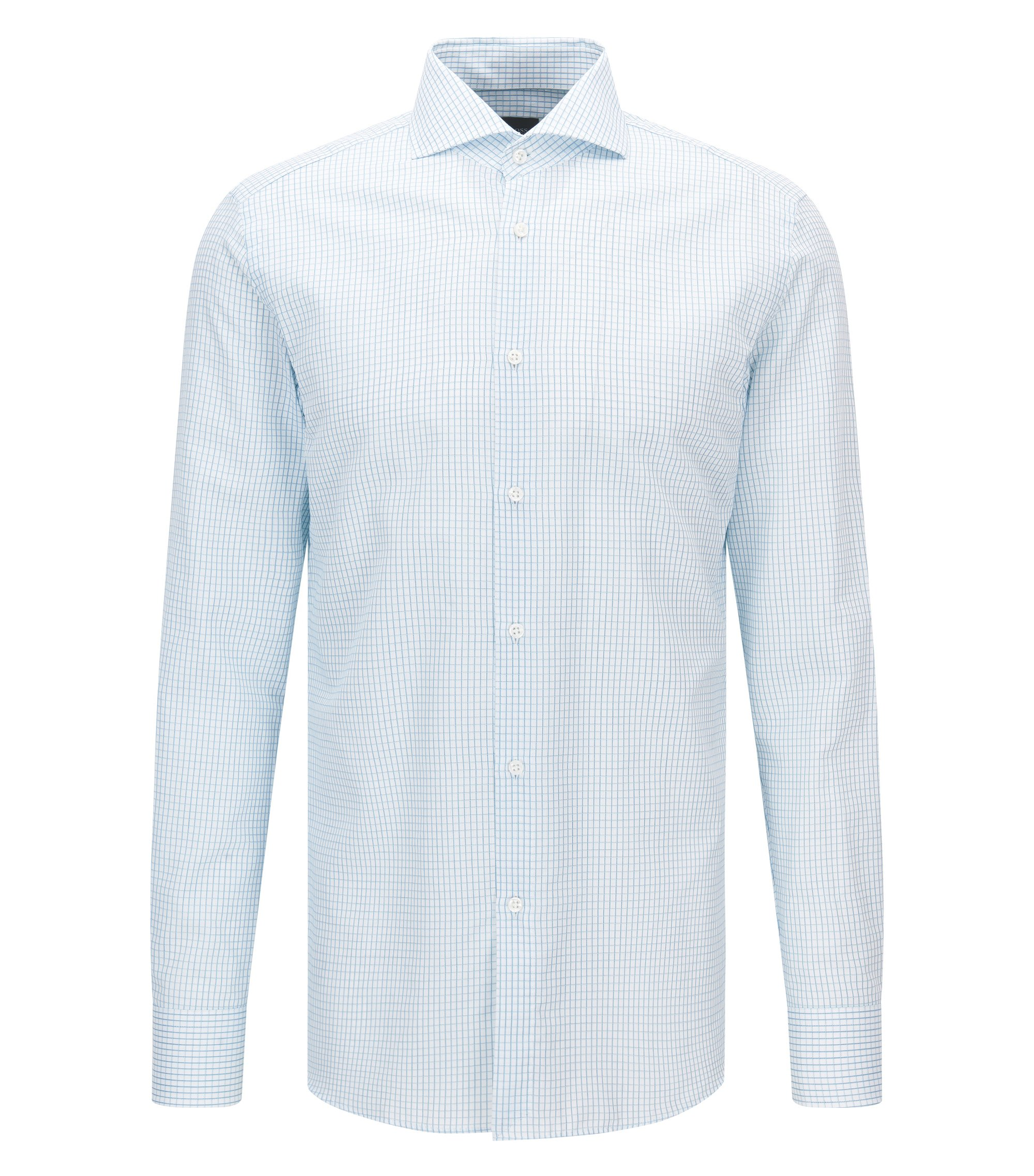 Check Italian Cotton Dress Shirt, Slim Fit   T-Christo, Turquoise