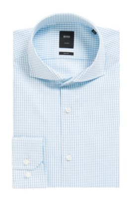 Check Italian Cotton Dress Shirt, Slim Fit | T-Christo, Turquoise