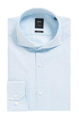 Check Italian Cotton Dress Shirt, Slim Fit | T-Christo, Turquoise
