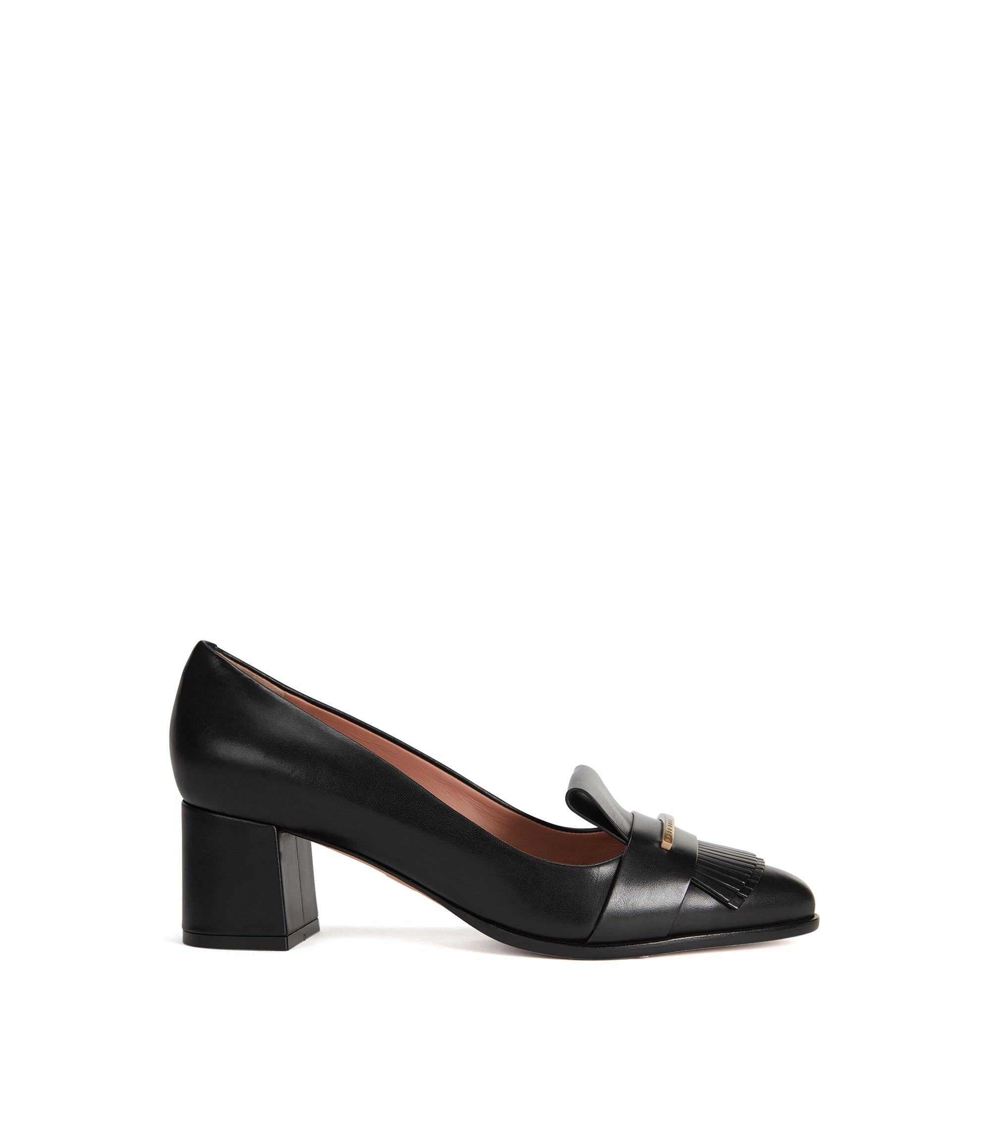 Fringed Italian Leather Pump | Buckle Pump, Black