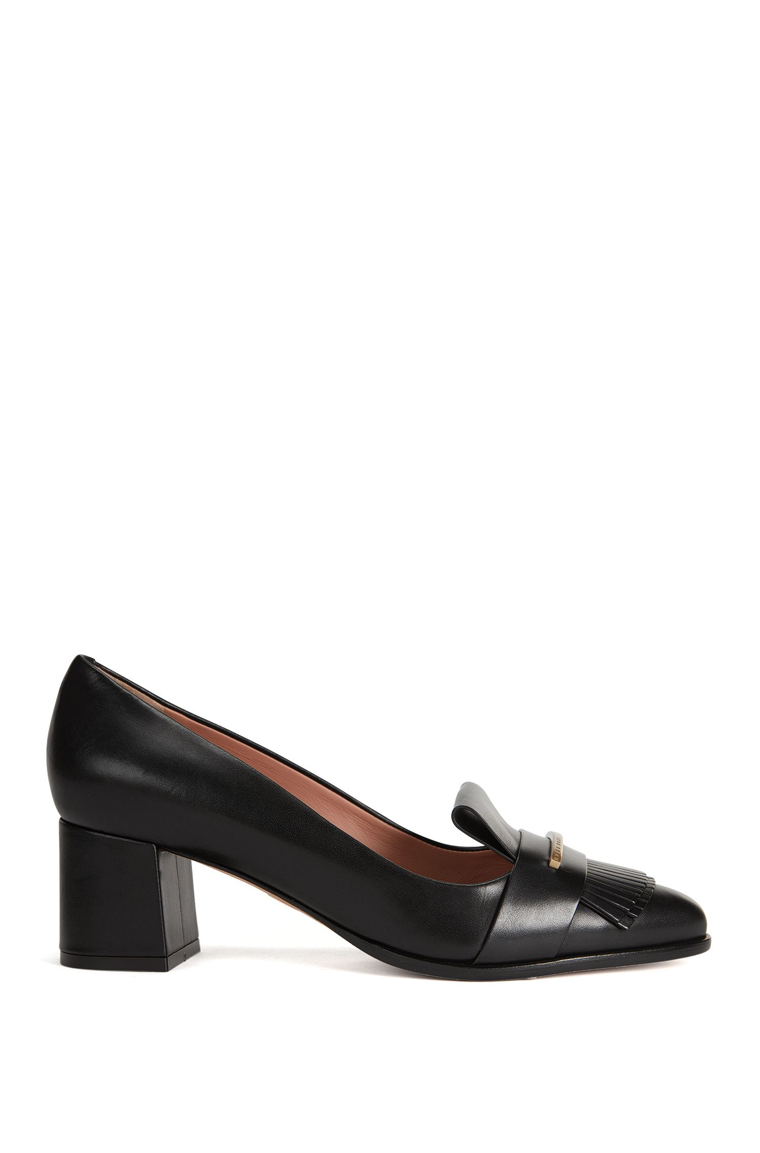 Fringed Italian Leather Pump | Buckle Pump
