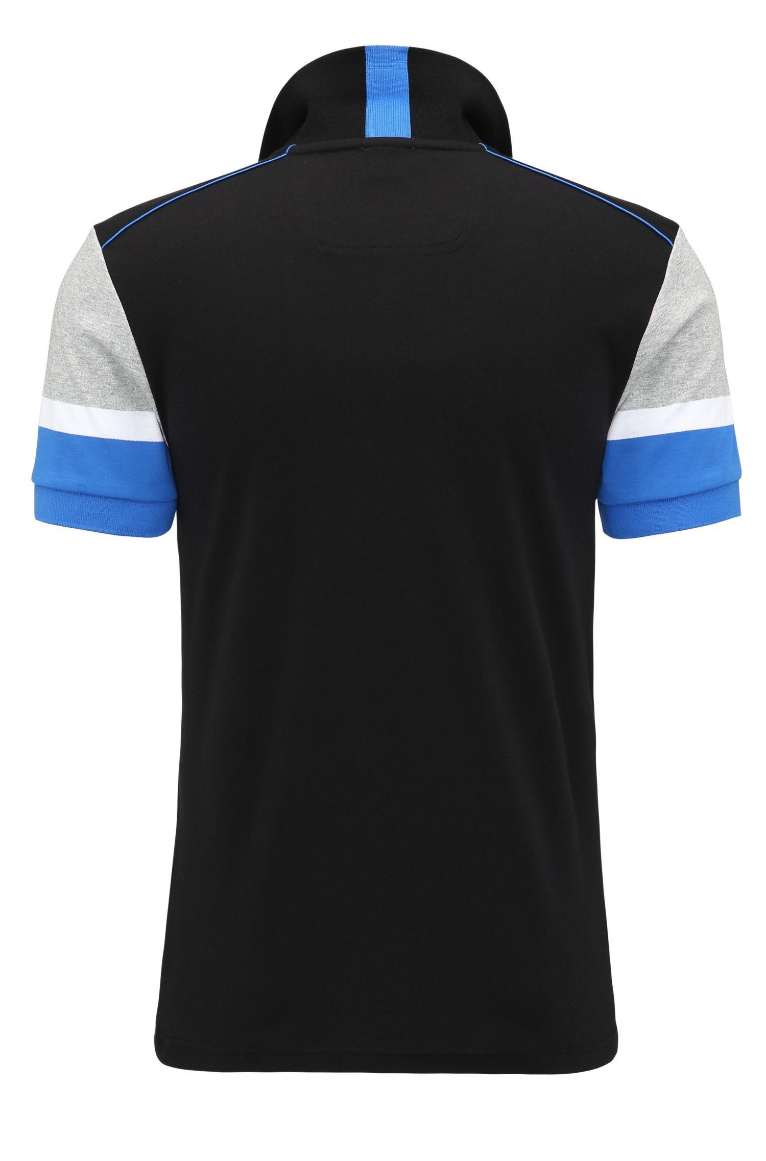 Colorblock Cotton Polo, Slim Fit | Paule, Black
