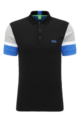 'Paule' | Slim Fit, Colorblock Cotton Polo, Black