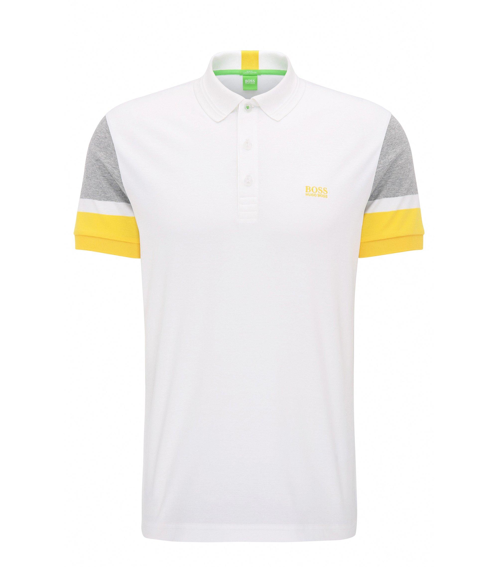 Colorblock Cotton Polo, Slim Fit | Paule, White