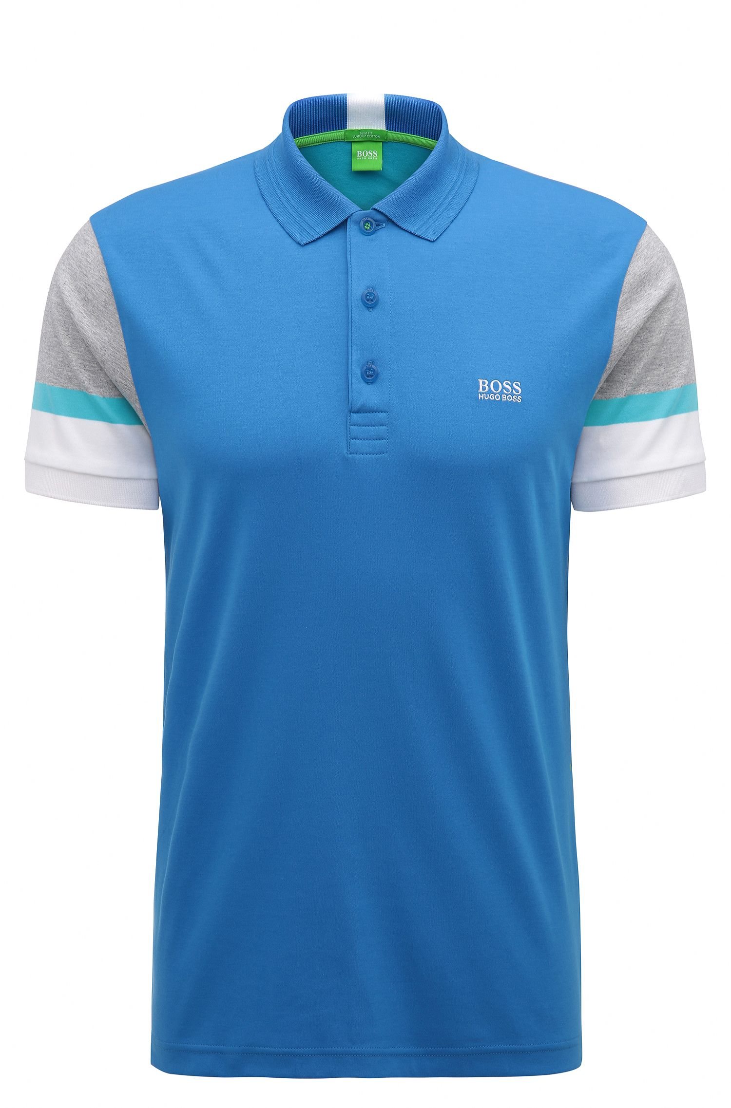 Colorblock Cotton Polo, Slim Fit | Paule, Open Blue