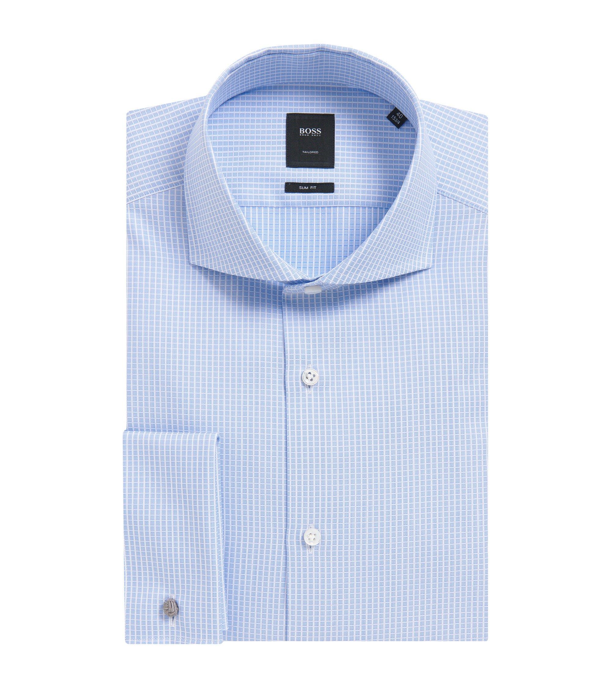 'T-Yacob' | Slim Fit, French Cuff Graph Check Cotton Dress Shirt, Light Blue