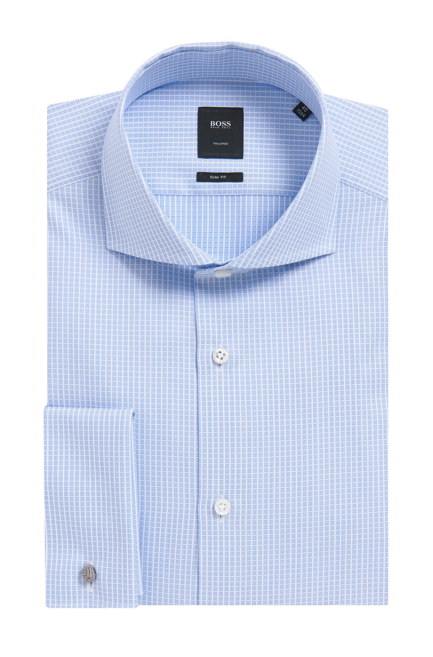 'T-Yacob' | Slim Fit, French Cuff Graph Check Cotton Dress Shirt