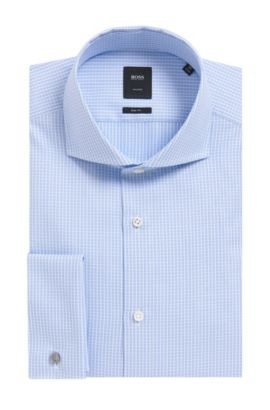 'T-Yacob' | Slim Fit, French Cuff Graph Check Cotton Dress Shirt, Light Blue