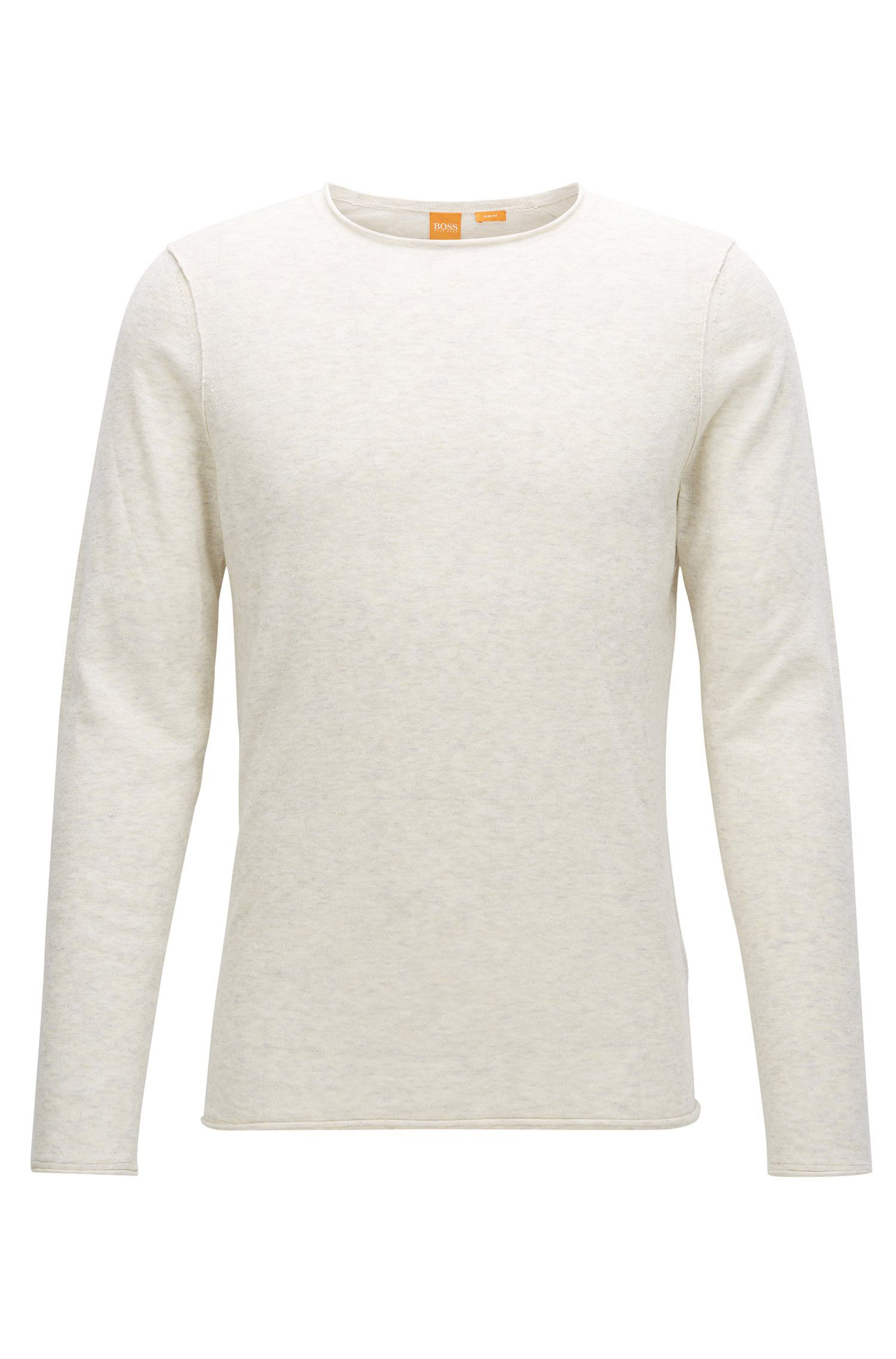 Heathered Cotton Sweater, Slim Fit | Kamiro