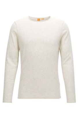 'Kamiro' | Slim Fit, Heathered Cotton Sweater, Open White