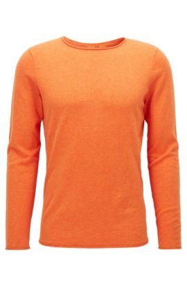 Heathered Cotton Sweater, Slim Fit | Kamiro, Orange
