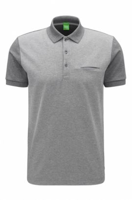 'C-Firenze' | Regular Fit, Gradient Striped Cotton Polo, Grey