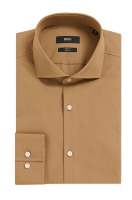 2-Ply Cotton Dress Shirt, Slim Fit | Jason  , Beige