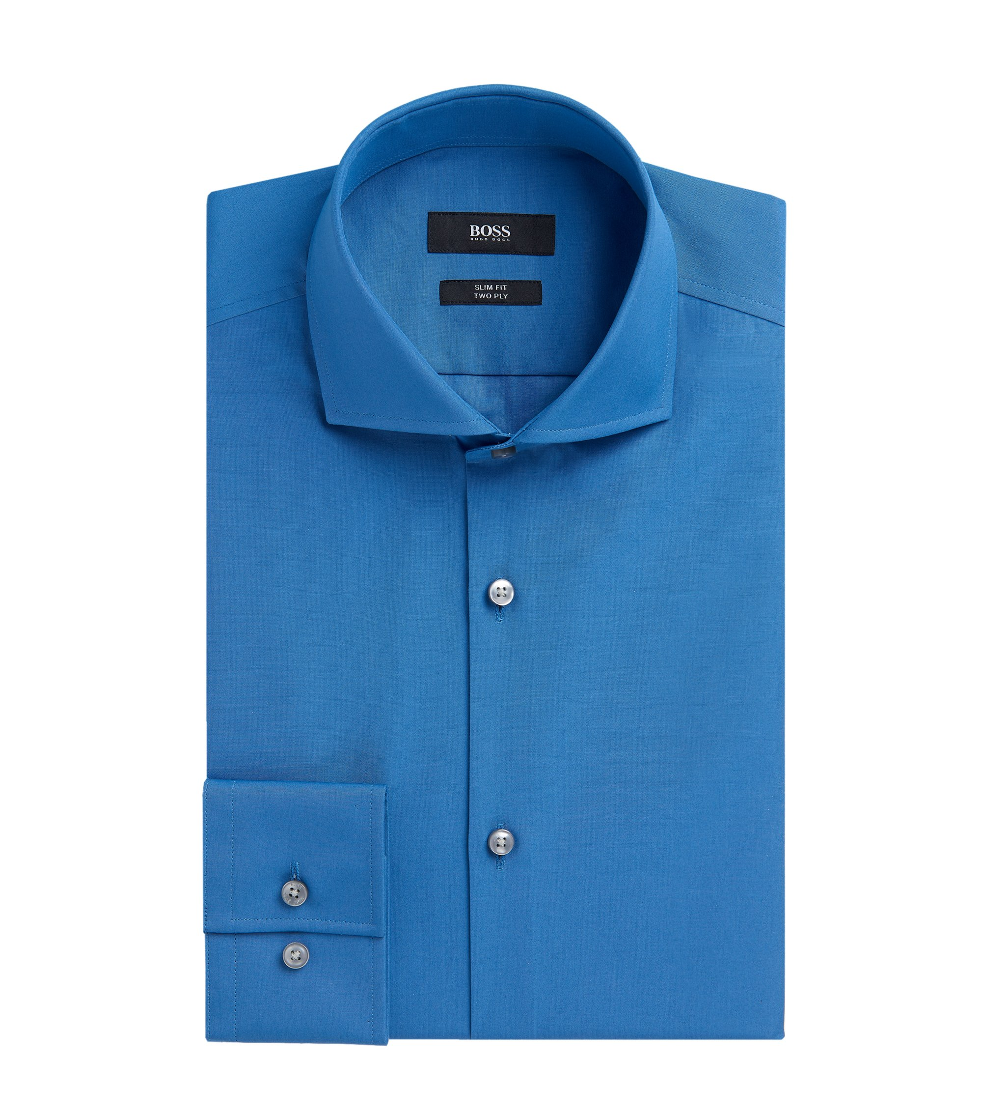 2-Ply Cotton Dress Shirt, Slim Fit | Jason  , Open Blue