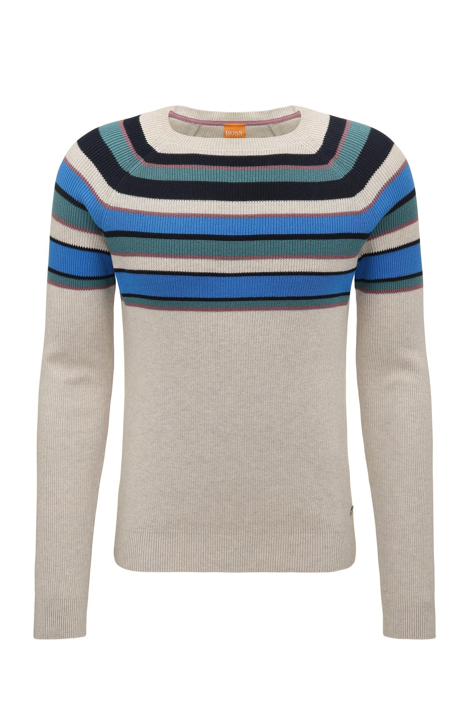 'Kasmund' | Slim Fit, Striped Cotton Sweater, Open White
