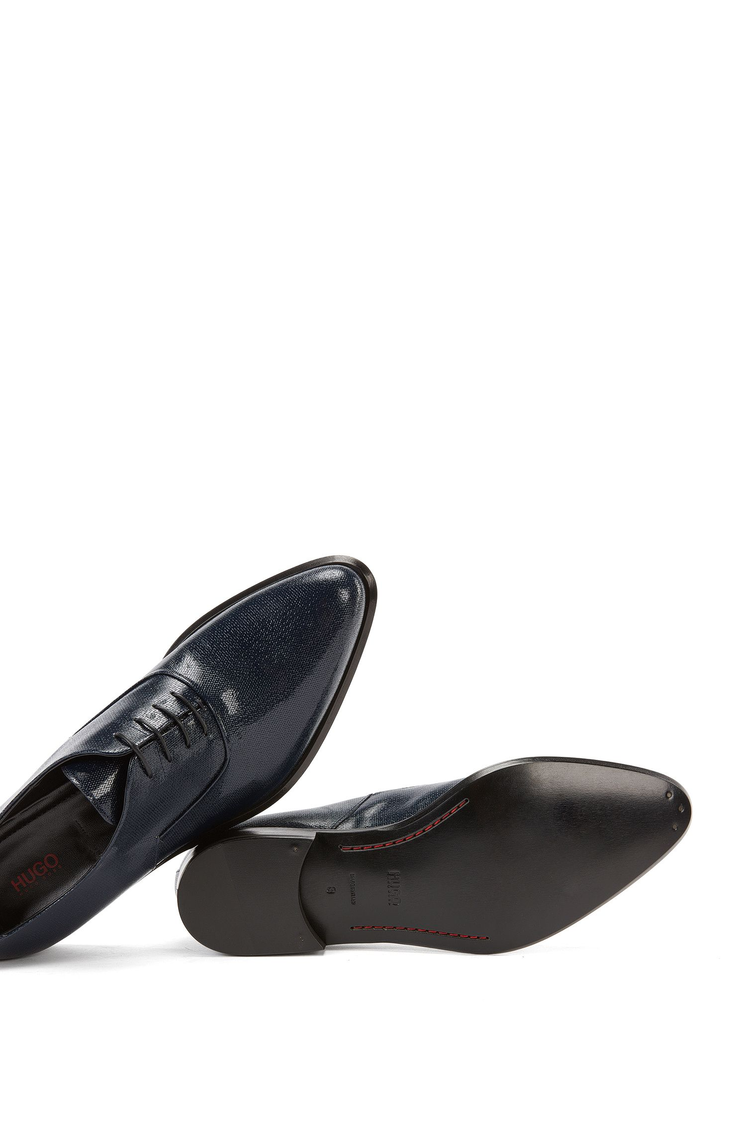 Embossed Leather Oxford Dress Shoe | Deluxe Oxfr Paper, Dark Blue