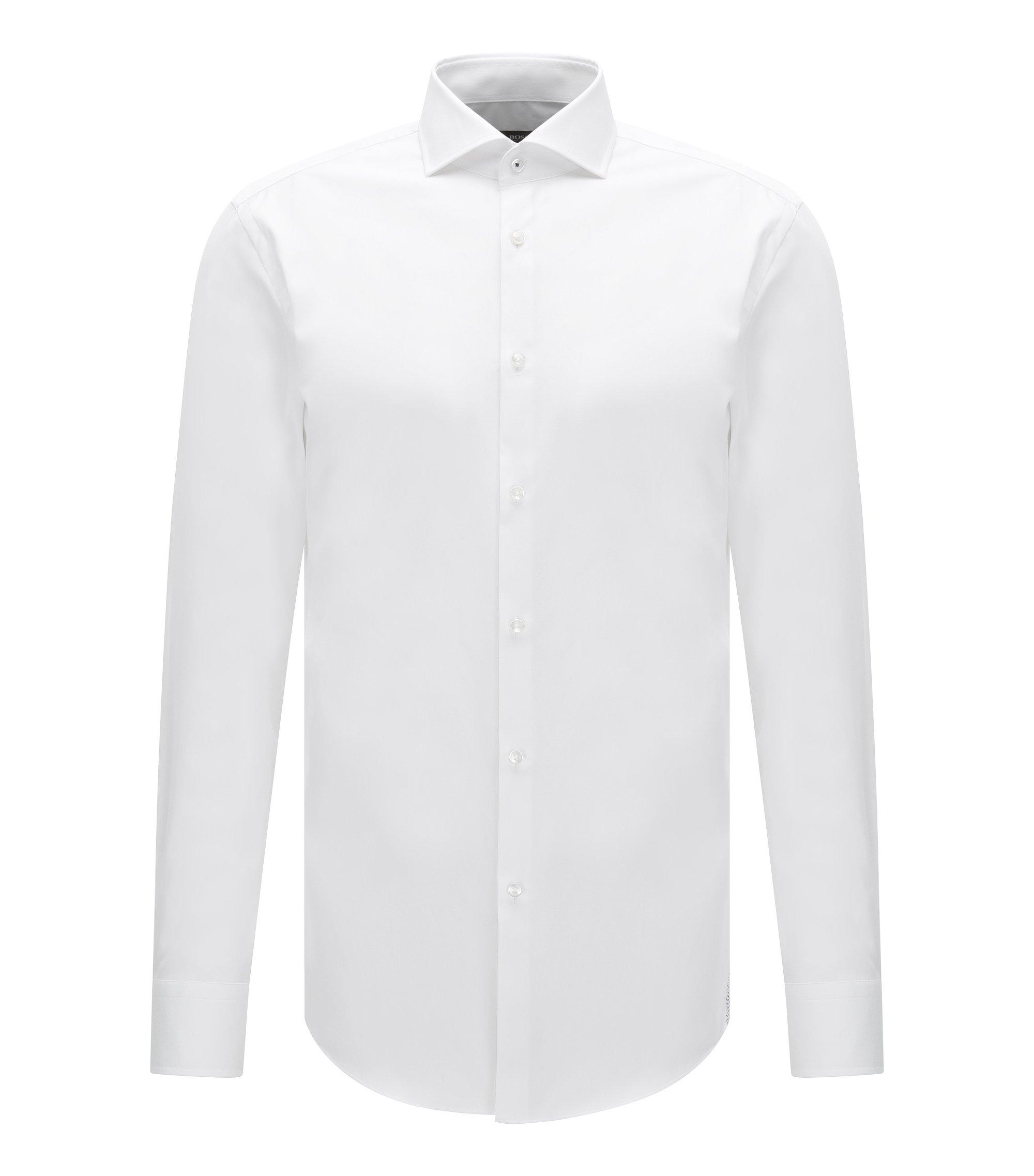 Easy Iron Italian Cotton Dress Shirt, Slim Fit  | Jerrin, White