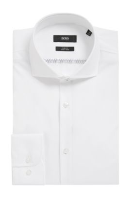 Easy Iron Italian Cotton Dress Shirt, Slim Fit  | Jerrin, White