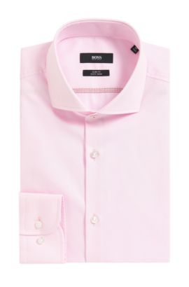 Easy Iron Italian Cotton Dress Shirt, Slim Fit  | Jerrin, light pink