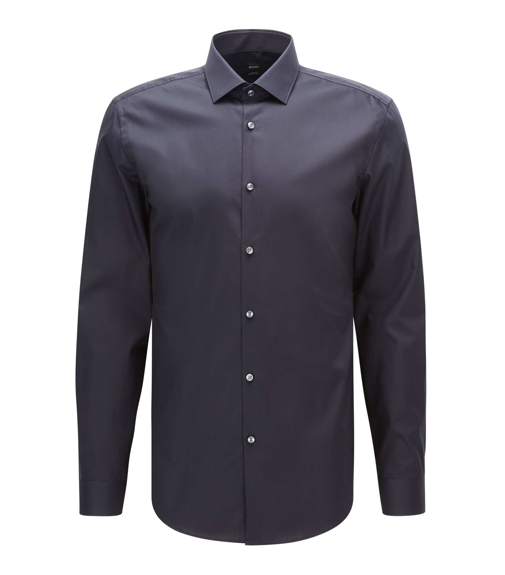 Easy Iron Cotton Dress Shirt, Slim Fit   Ismo, Dark Blue