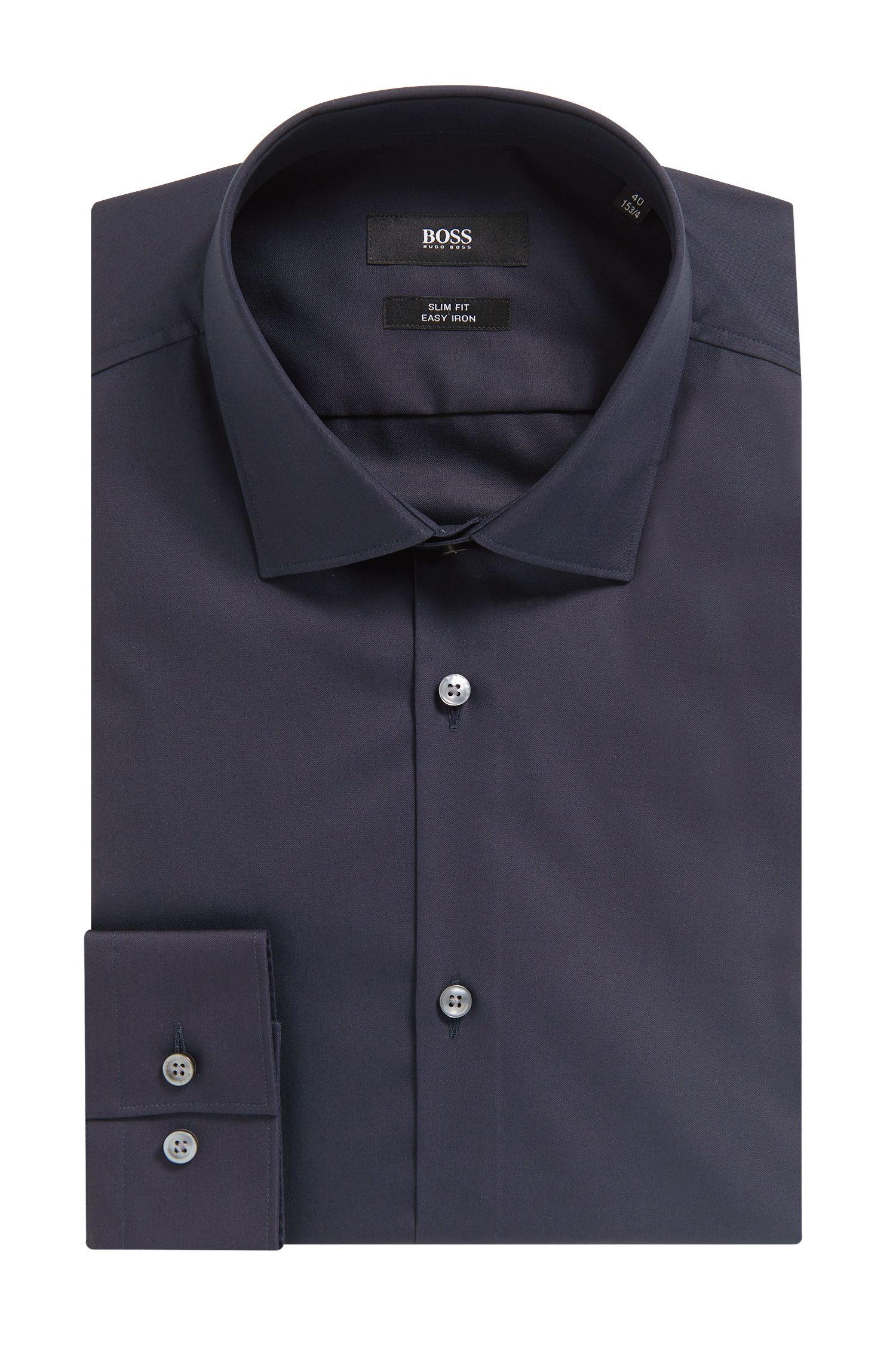 Easy Iron Cotton Dress Shirt, Slim Fit | Ismo, Dark Blue