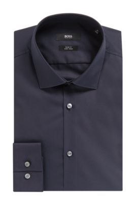 'Ismo' | Slim Fit, Easy Iron Cotton Dress Shirt, Dark Blue