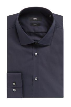 'Ismo' | Slim Fit, Easy Iron Cotton Dress Shirt, Dark Blue