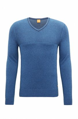 'Kersent' | V-Neck Long Sleeve Cotton Blend Sweater, Open Blue