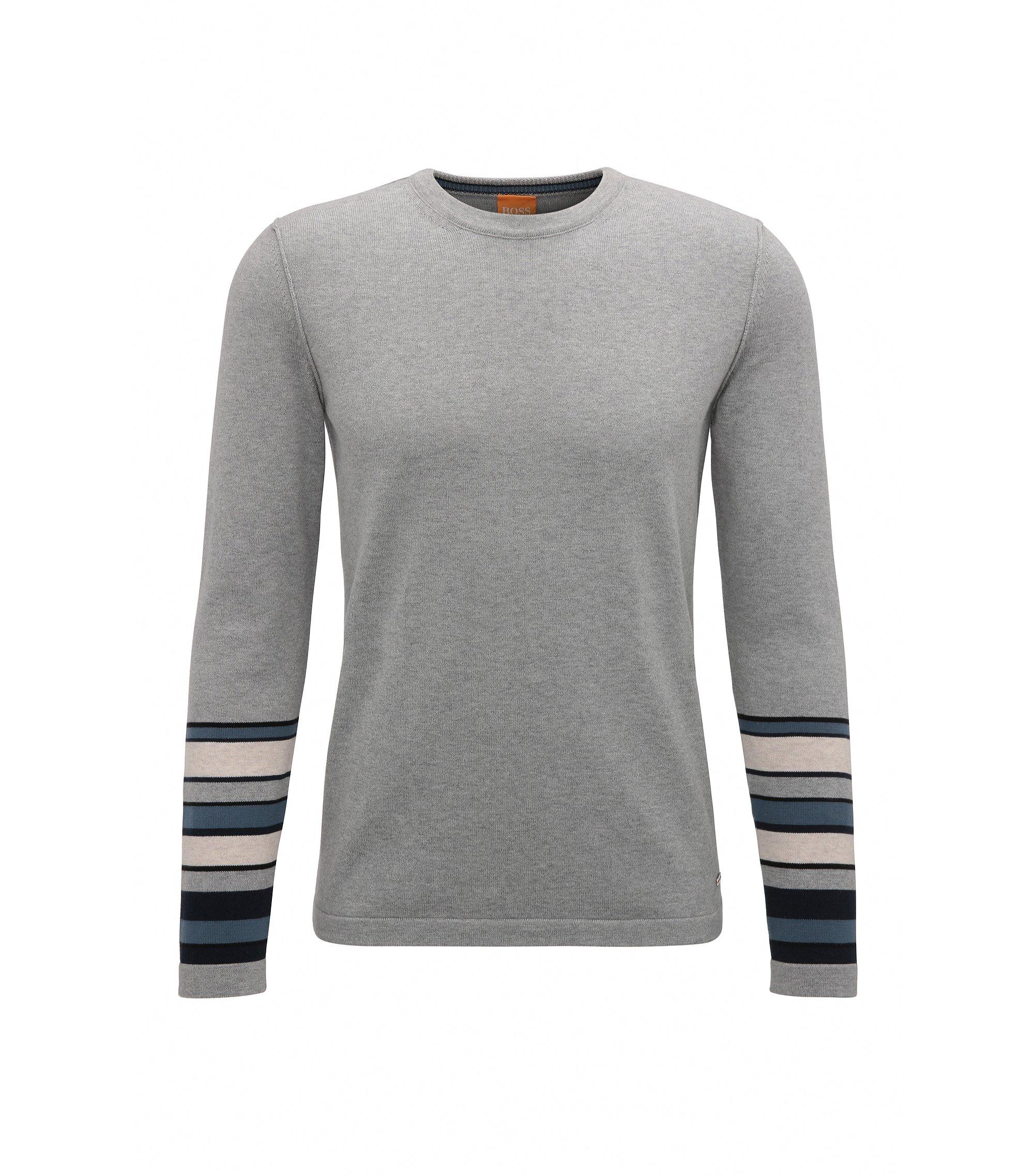 Block Stripe Cotton Sweater | Astrygan, Light Grey