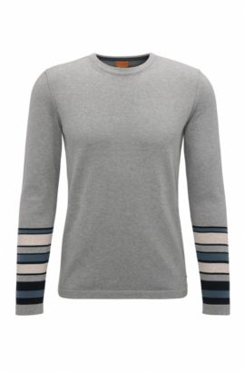'Astrygan' | Block Stripe Cotton Sweater, Light Grey