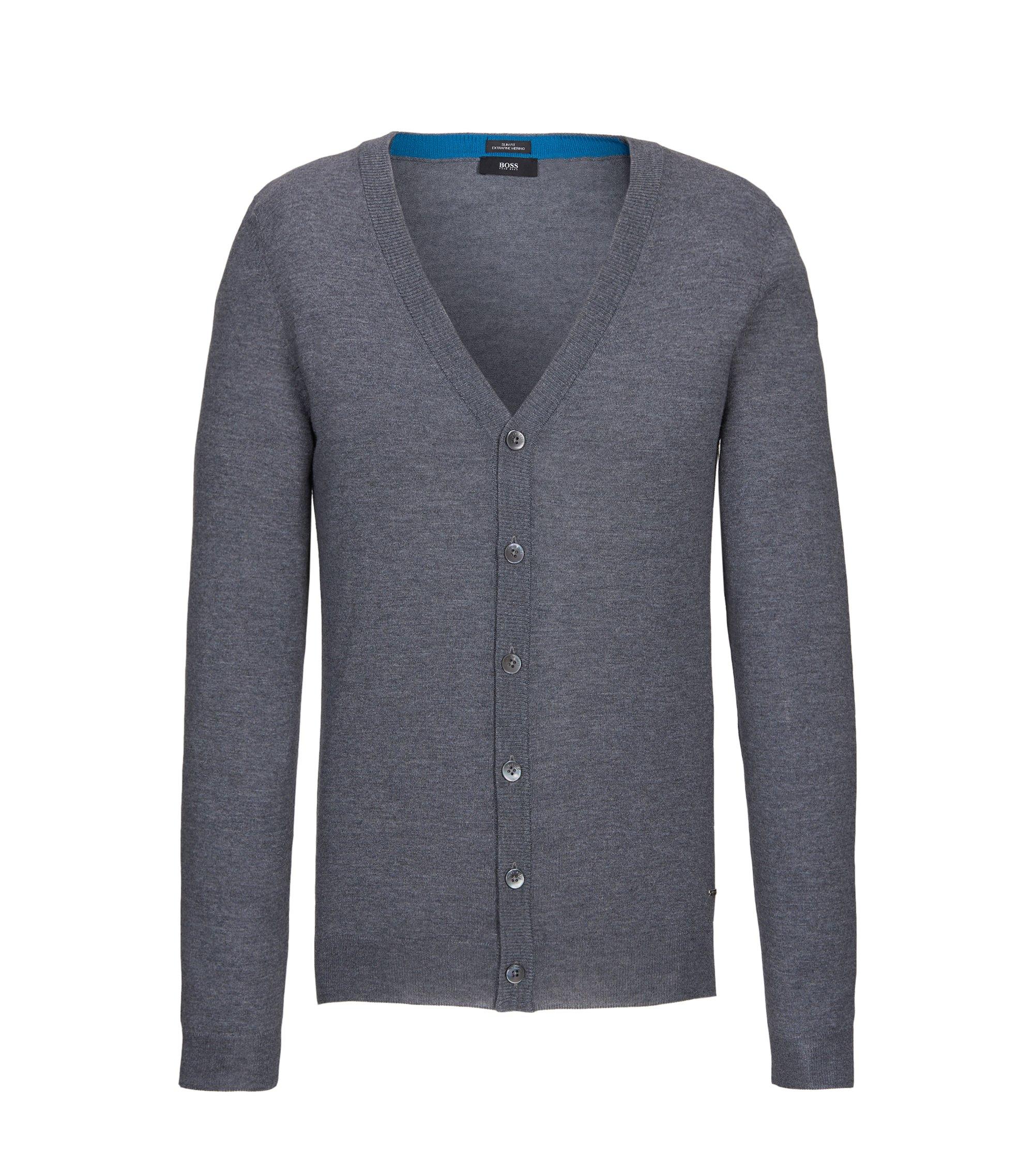 Extra-Fine Virgin Merino Wool Sweater, Slim FIt | Mardon M, Grey