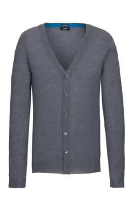 Extra-Fine Virgin Merino Wool Sweater, Slim FIt | Mardon M, Grey