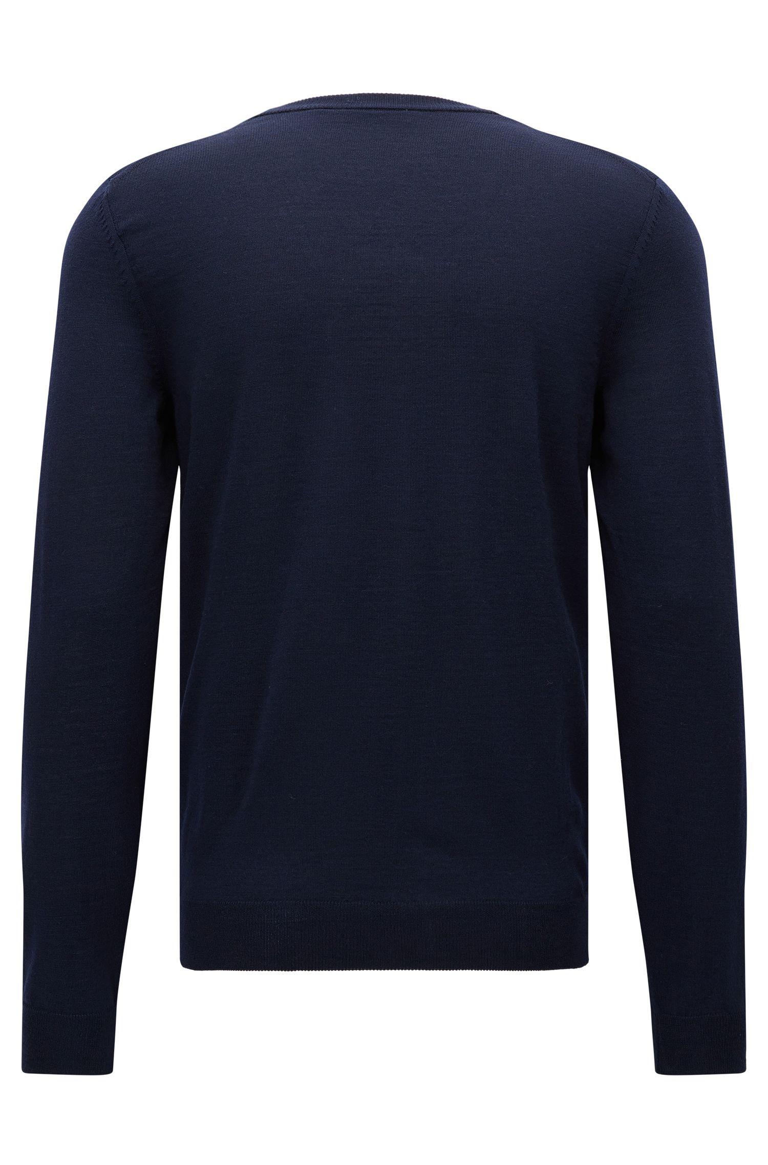 Extra-Fine Virgin Merino Wool Sweater, Slim FIt | Mardon M, Dark Blue