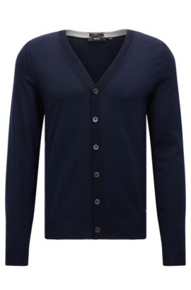 Extra-Fine Virgin Merino Wool Sweater, Slim FIt | Mardon M, Dark Blue
