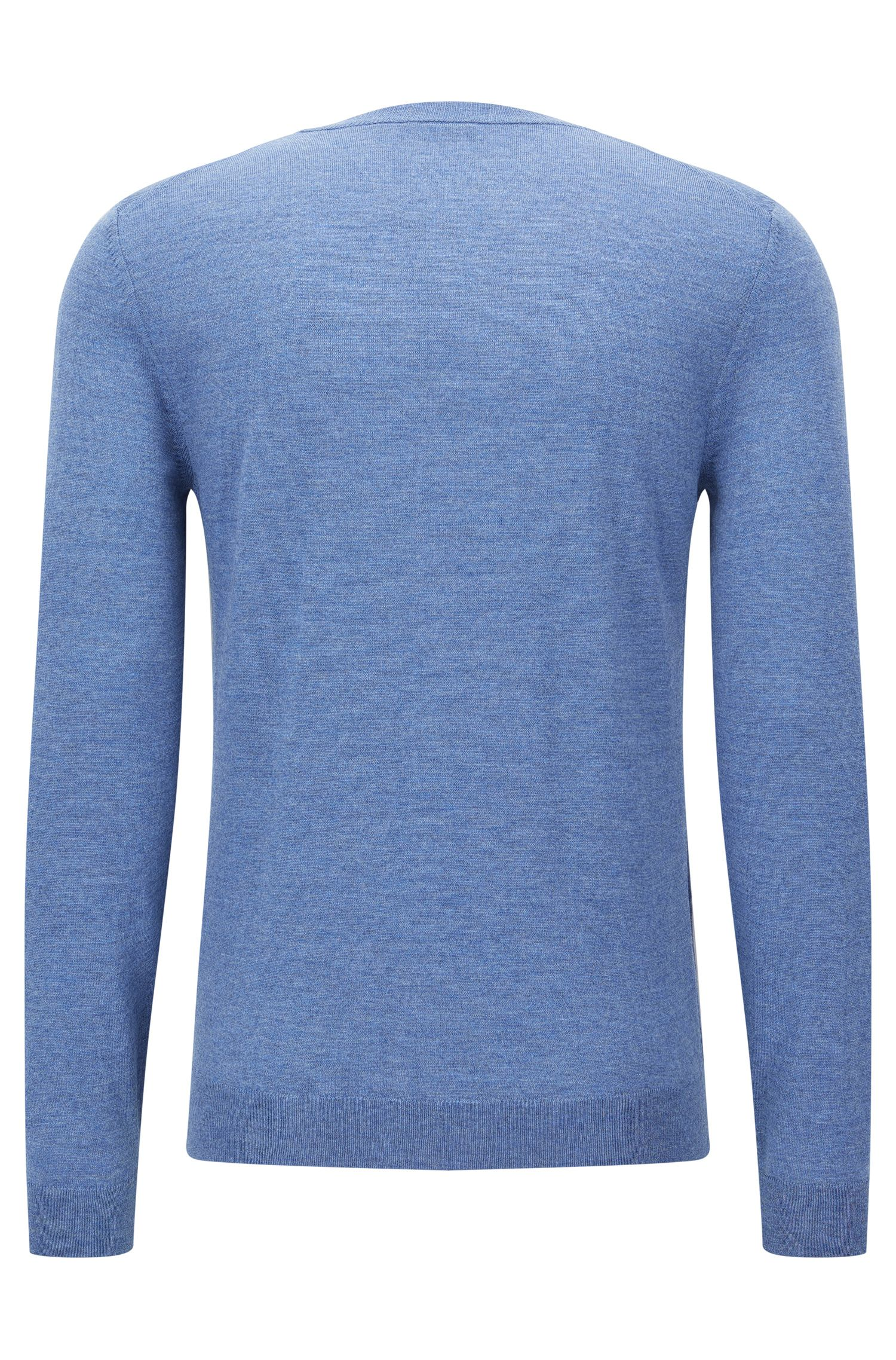 Extra-Fine Virgin Merino Wool Sweater, Slim FIt | Mardon M, Open Blue