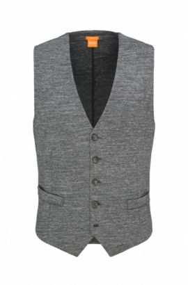 Stretch Cotton Blend Waistcoat, Slim Fit | Wutang, Light Grey