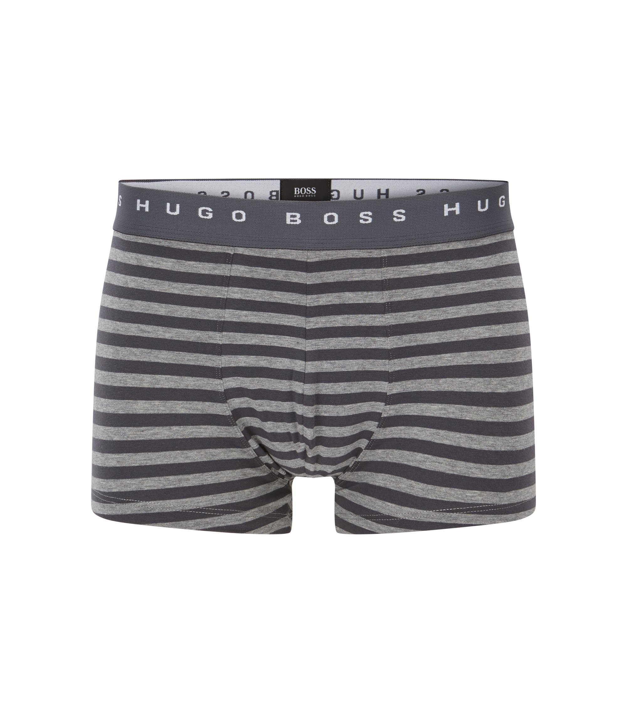 Stretch Cotton Striped Trunk | Trunk Block Stripes, Open Grey