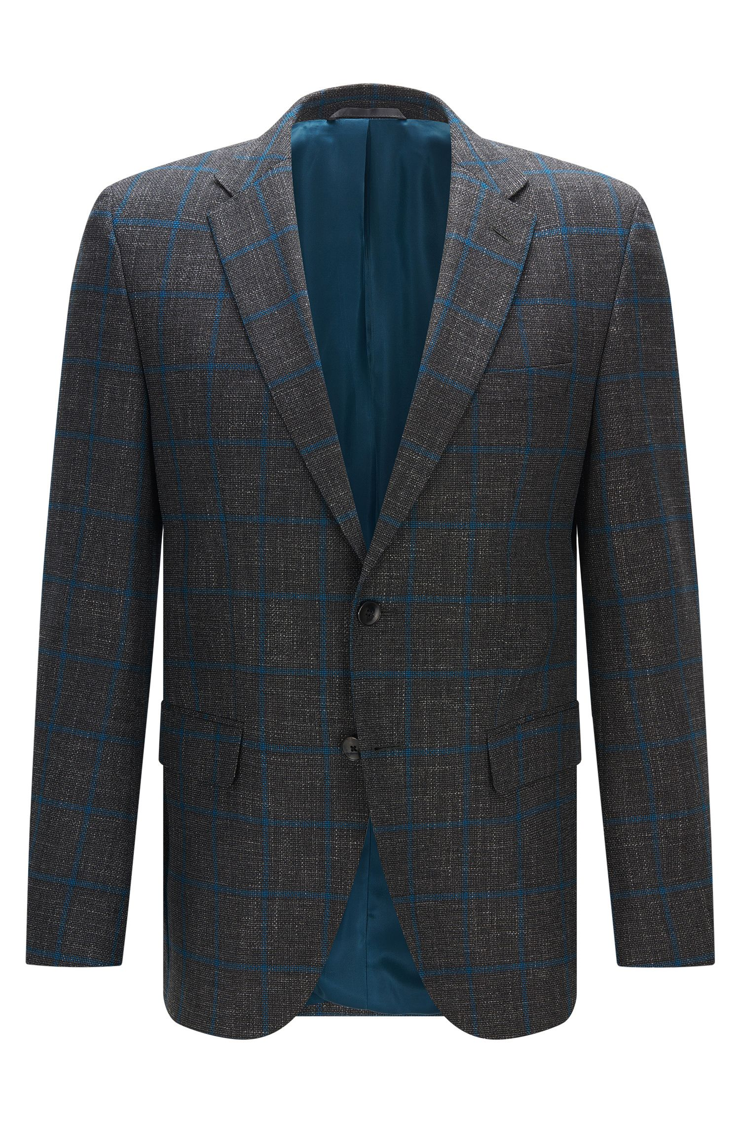 'Jeen' | Regular Fit, Windowpane Virgin Wool Blend Sport Coat