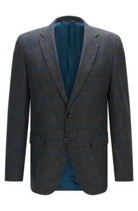 'Jeen' | Regular Fit, Windowpane Virgin Wool Blend Sport Coat, Open Grey