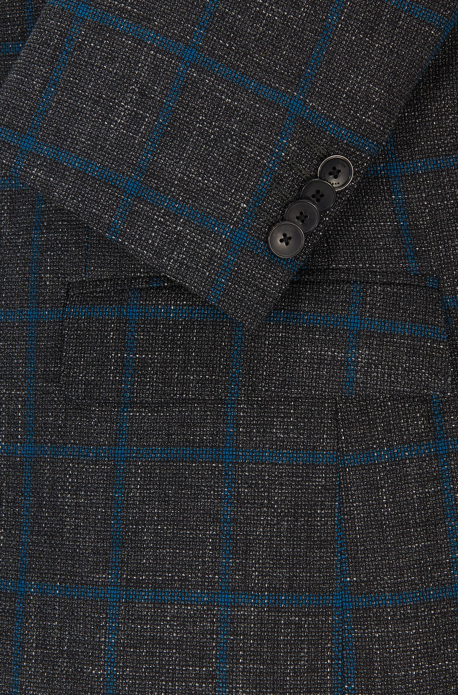 Windowpane Virgin Wool Blend Sport Coat, Regular Fit | Jeen, Open Grey