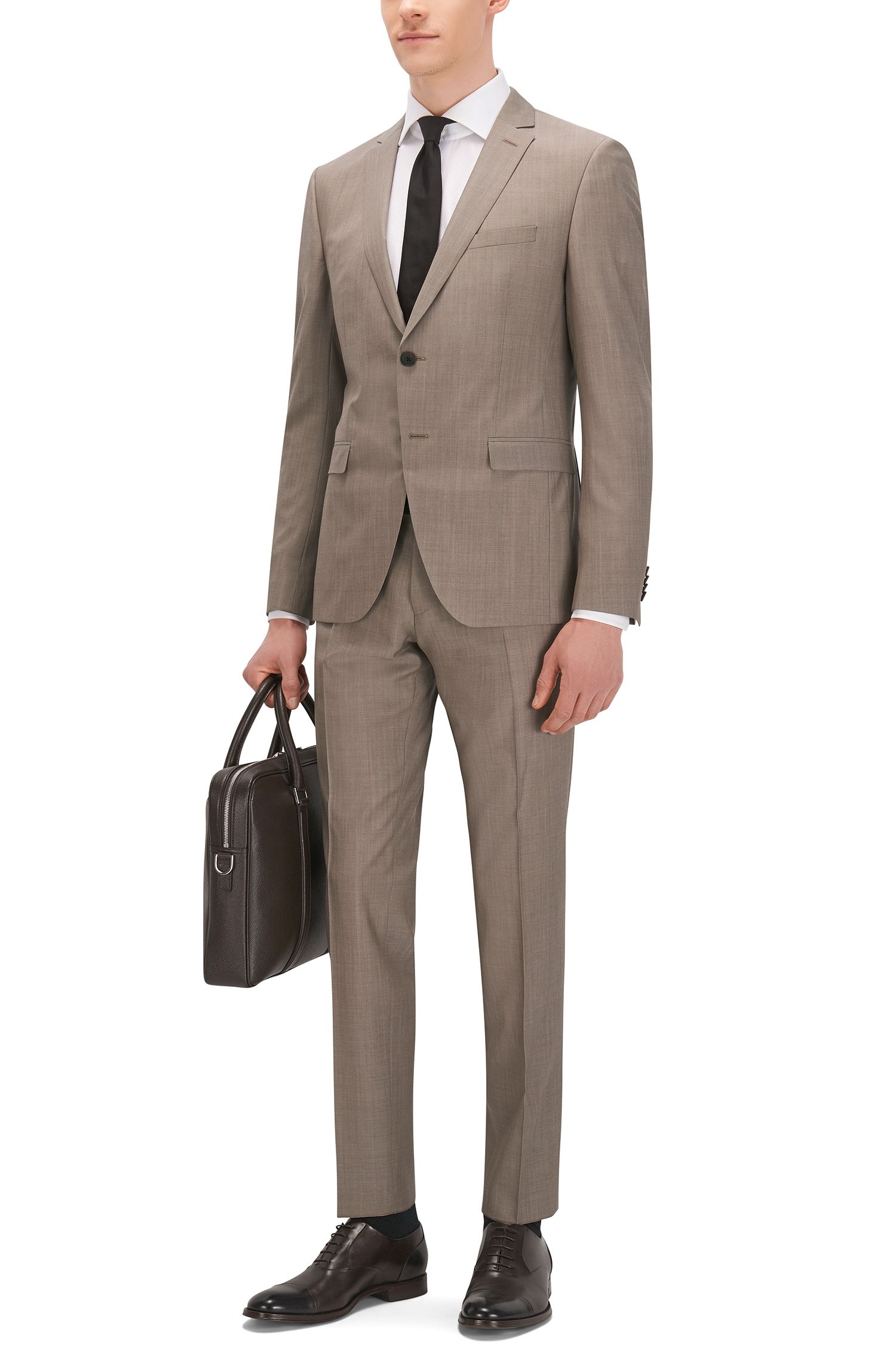 Heathered Virgin Wool Suit, Extra Slim Fit | Reymond/Wenton