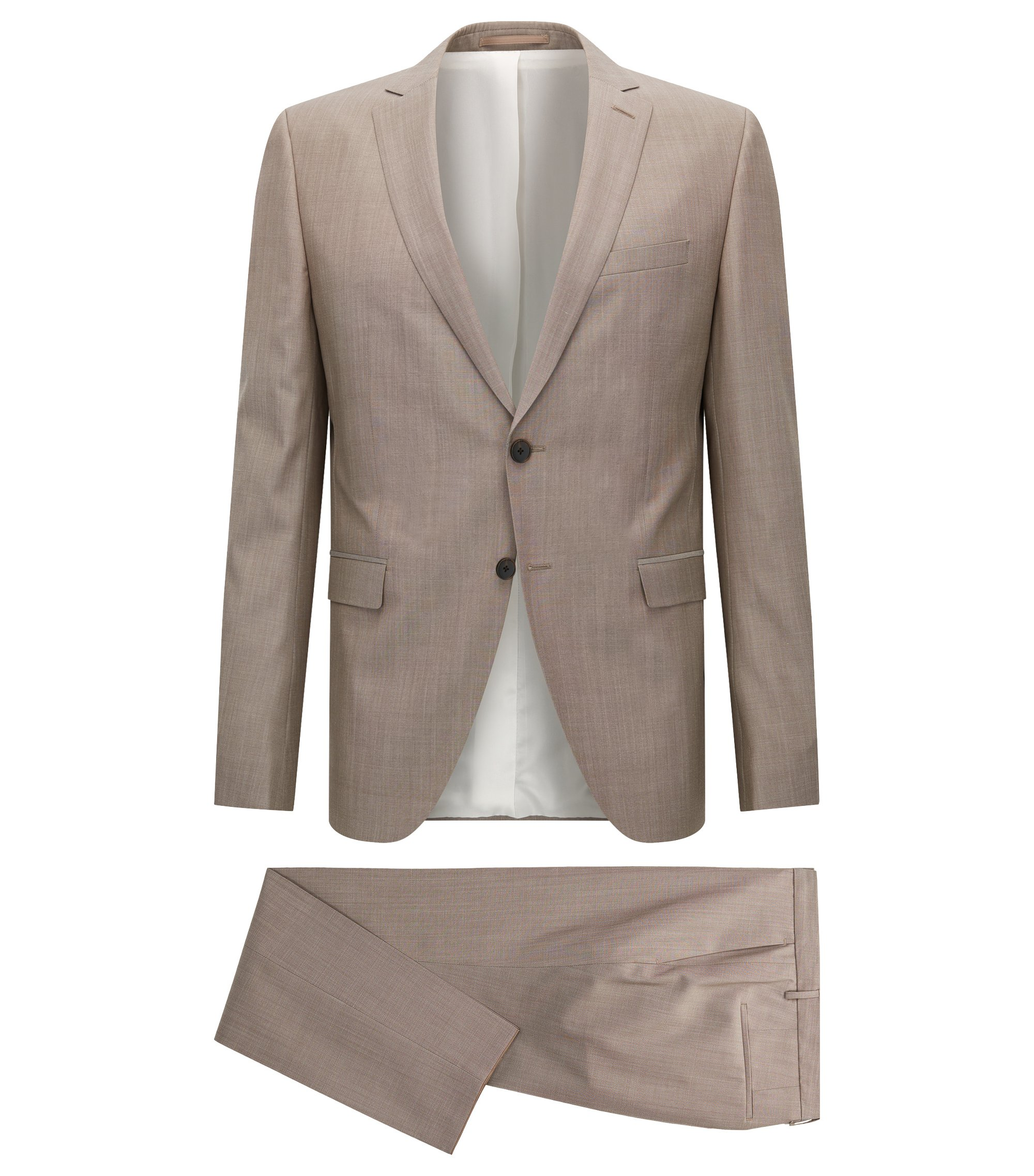 Heathered Virgin Wool Suit, Extra Slim Fit | Reymond/Wenton, Beige