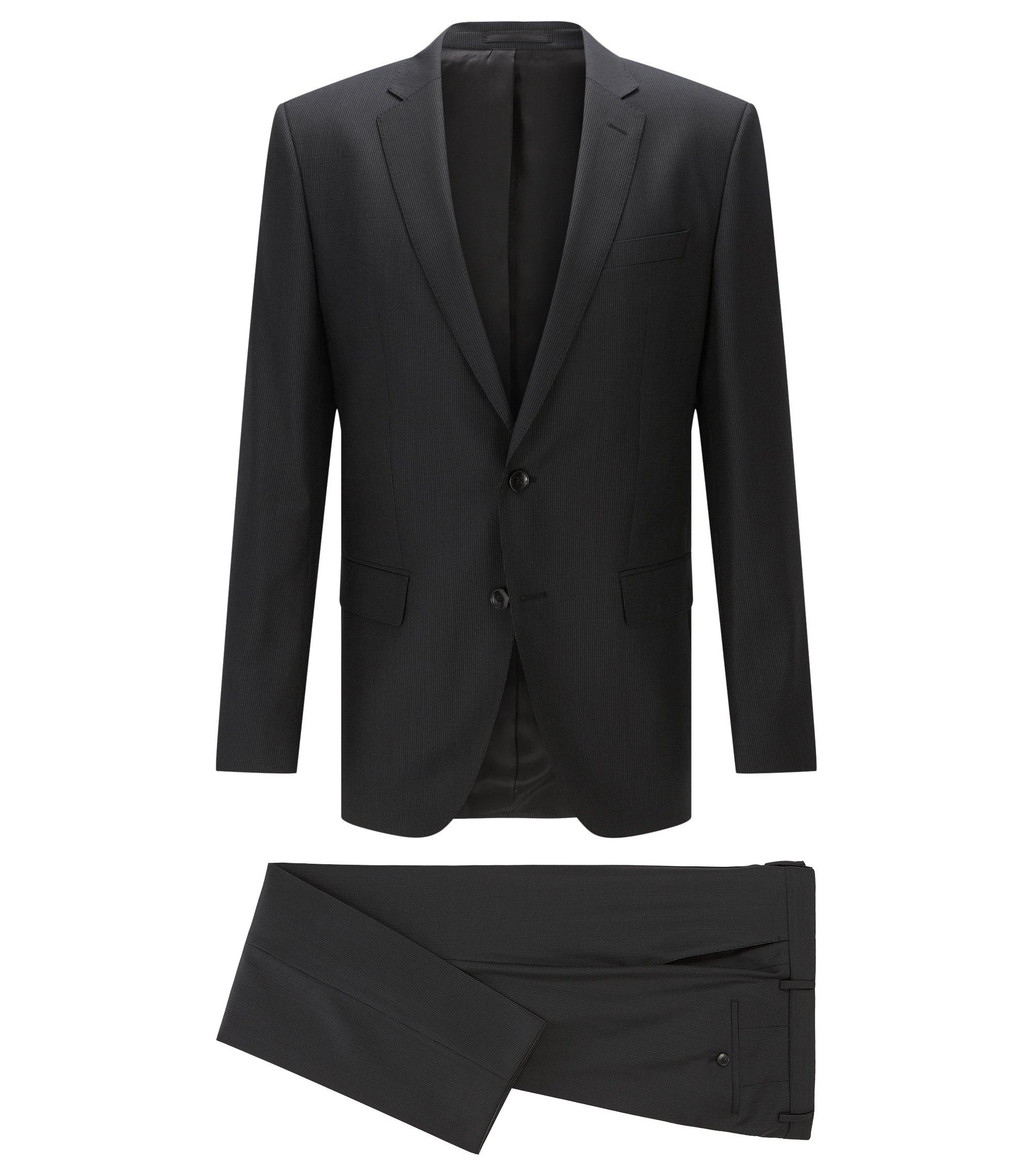 Striped Italian Virgin Wool Suit, Slim Fit   Huge/Genius, Black