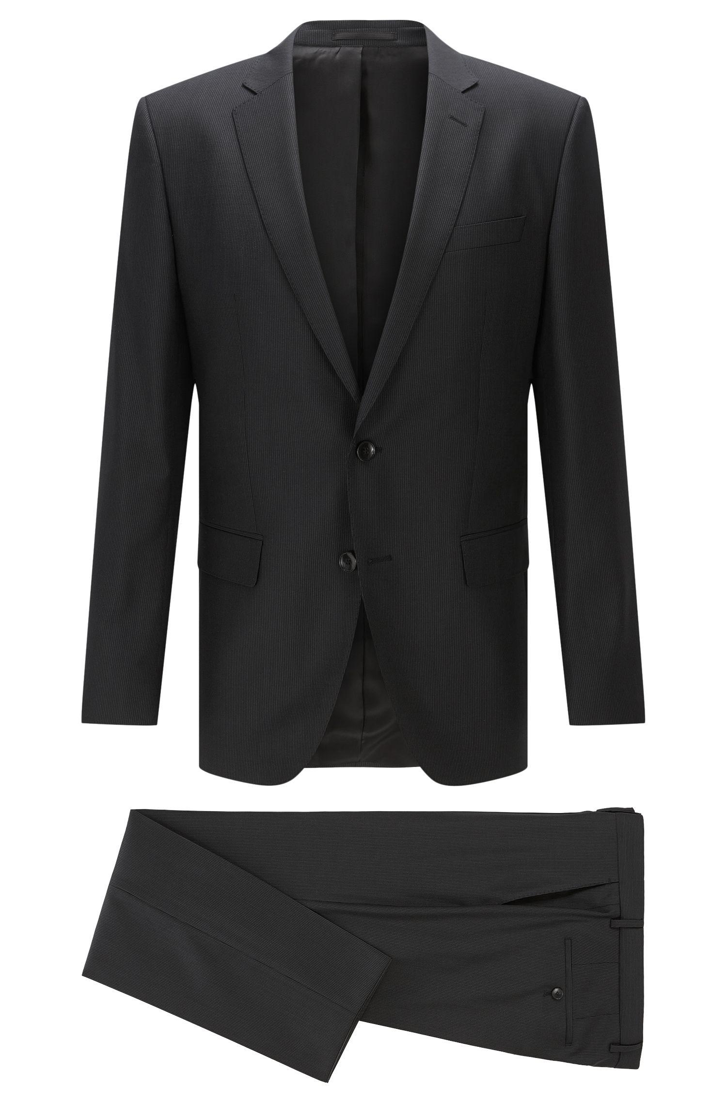 Tonal Striped Italian Super 110 Virgin Wool Suit, Slim Fit   Huge/Genius