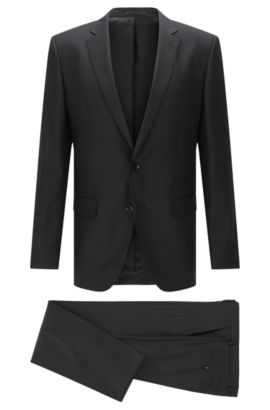 Tonal Striped Italian Super 110 Virgin Wool Suit, Slim Fit | Huge/Genius, Black