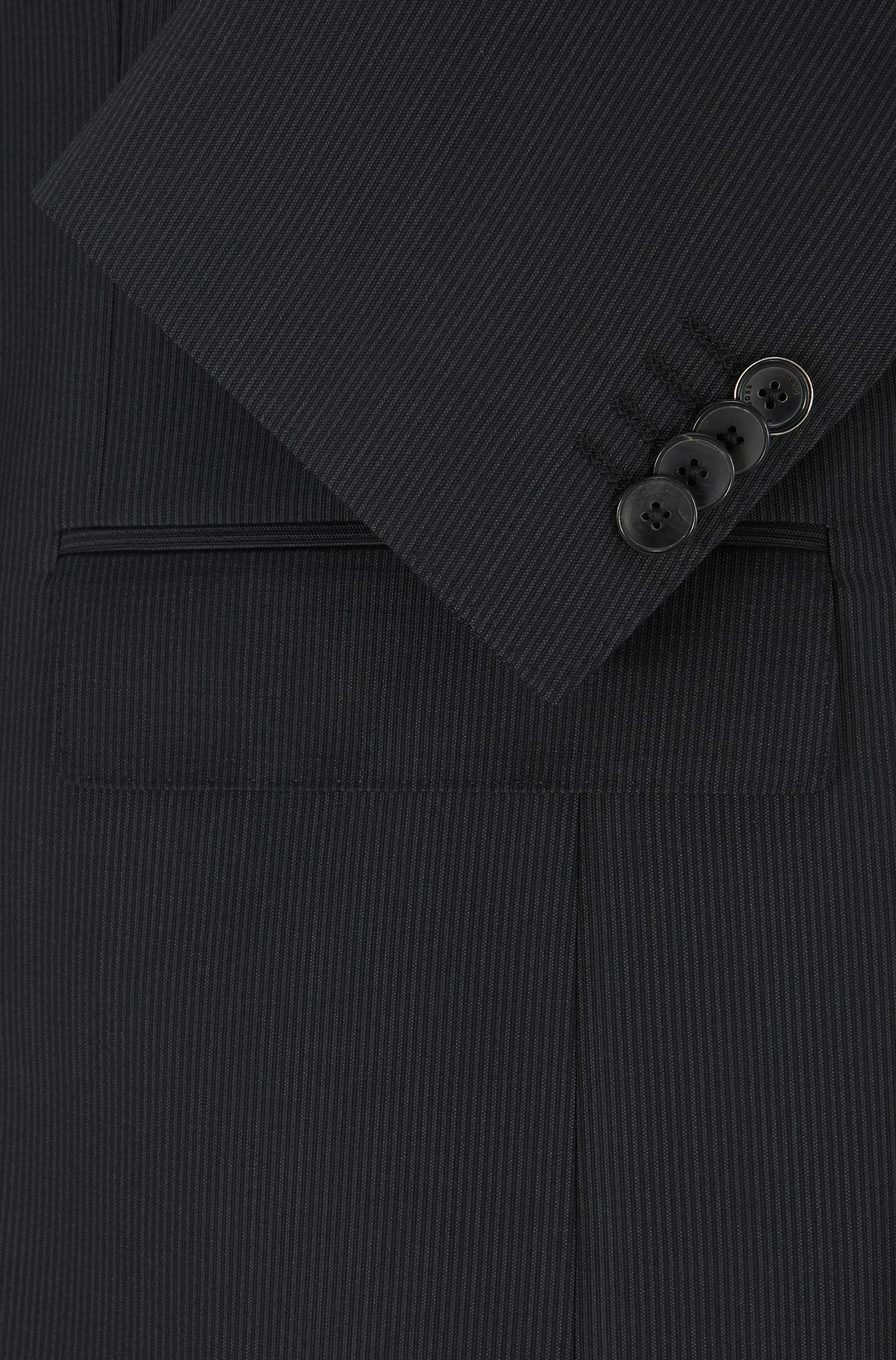 Striped Italian Virgin Wool Suit, Slim Fit | Huge/Genius, Black
