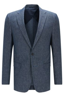 'Nobis' | Slim Fit, Stretch Cotton Linen Sport Coat, Blue