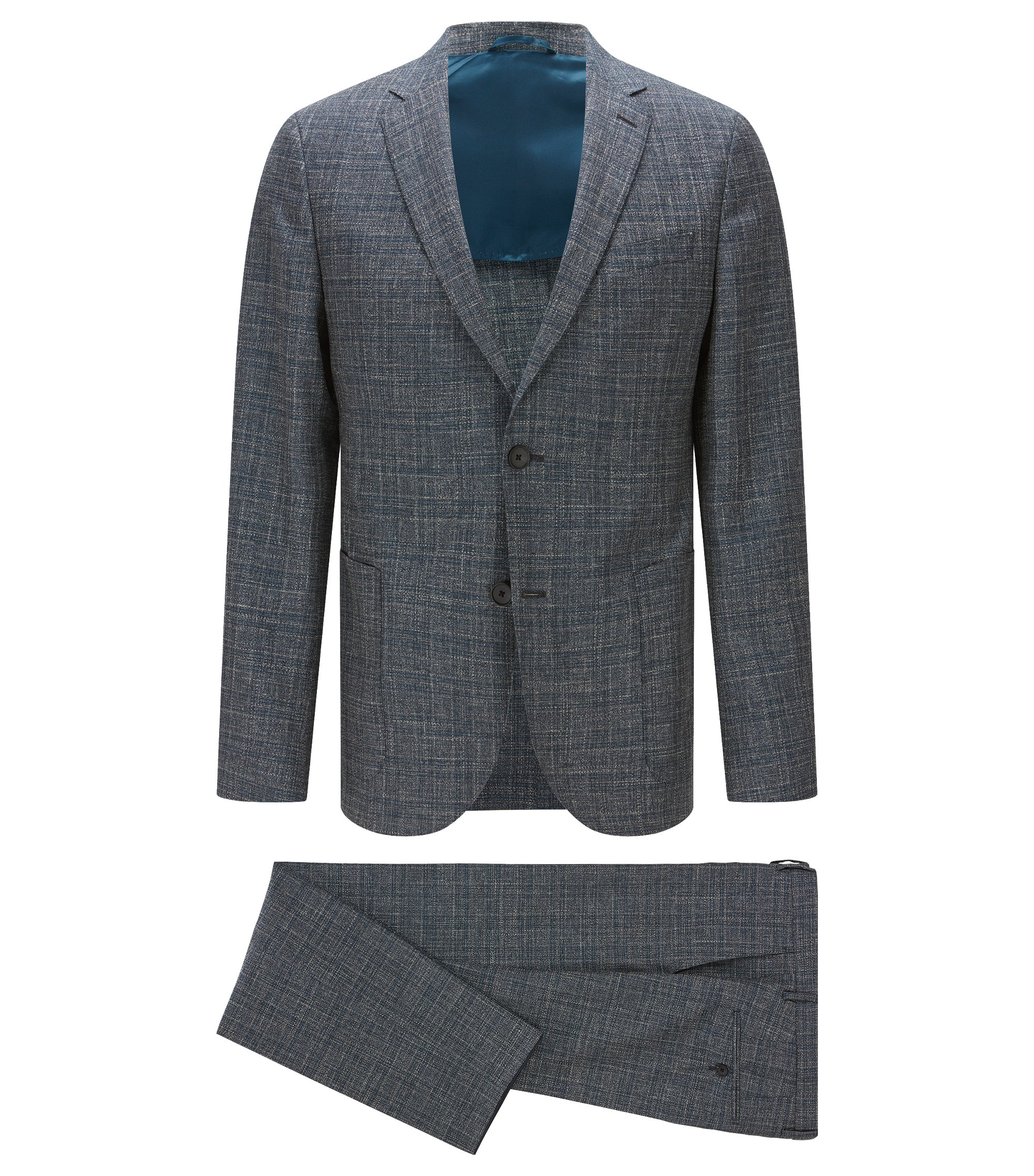 Virgin Wool Blend Suit, Slim Fit | Nalton/Bennno, Turquoise